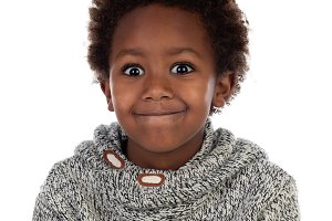 Funny expression of a small african