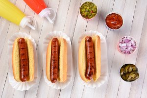 Three Grilled Hot Dogs