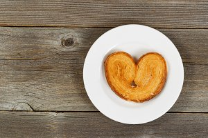 Heart shaped cookie on plate