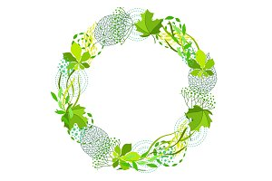 Frame of stylized green leaves for