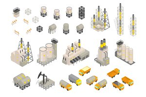 Set industrial factories plant