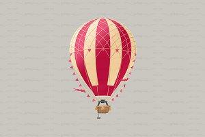 ♥ vector Aerostat hot balloon