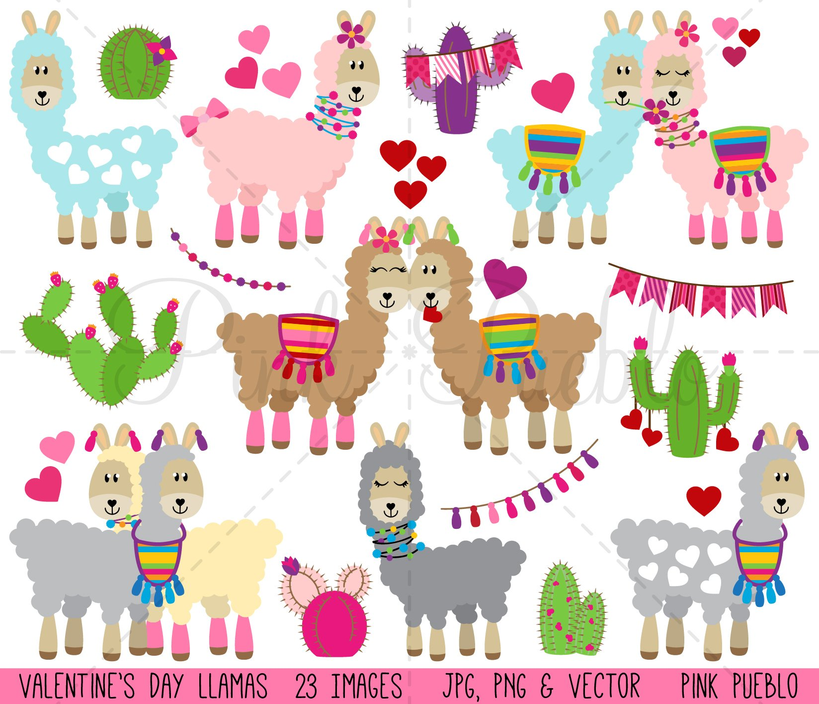 Valentine's Day Llama Clipart/Vector ~ Illustrations ...