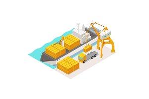 Isometric cargo harbor terminal