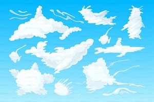 ♥ vector 3d animal shaped clouds