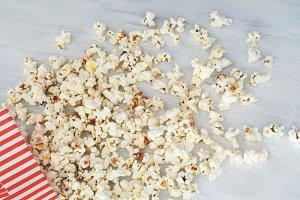 Top view of tasty popcorn