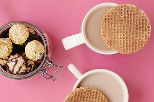 Coffee with dutch caramel waffles