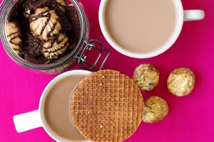 Coffee with waffle, sweets & cookies