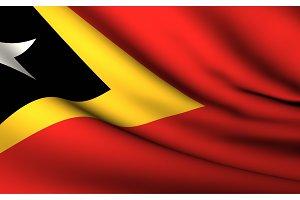 Flying Flag of East Timor . All