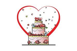 Wedding cake vector. Valentine's Day