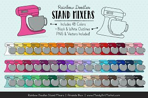 Rainbow Doodles Stand Mixer Clipart