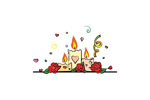 Romantic candles and roses vector.