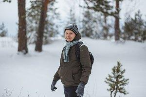 Portrait attractive man in winter