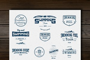 Swimming vector set badges and logos