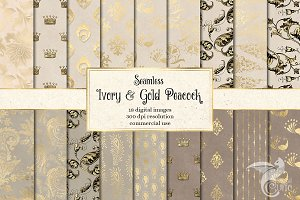 Ivory & Gold Peacock Digital Paper