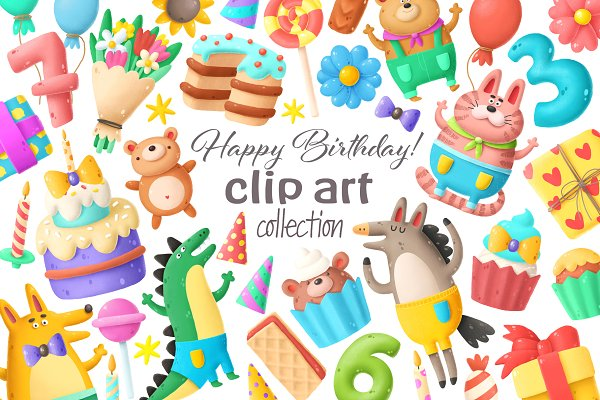 Graphic Objects: Andrei K. - Birthday clip art collection