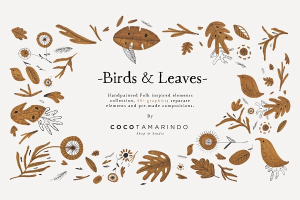 Illustrations - Folk Birds & Leaves Clip Art Set