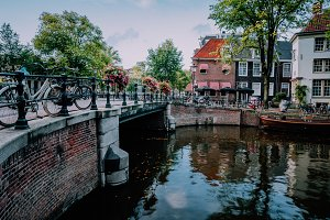 Autumnal Amsterdam canal scene with