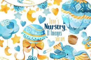 Watercolor Blue Nursery Clipart
