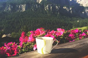 Morning coffee in the mountains