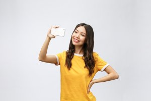 Image of excited happy young woman
