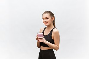 young happy woman with healthy diet