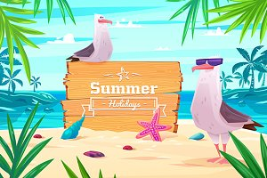 Summer holidays beach background pos