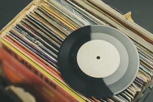 crate digging in vinyl record collec
