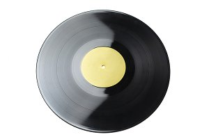 vinyl record disc with label isolate