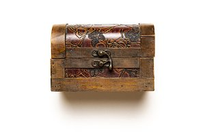 old wooden carved casket isolated on