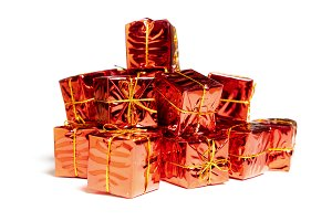 bunch of red gift boxes isolated on