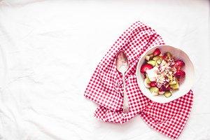 Oat granola with fresh fruit