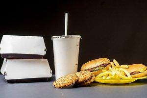closeup photo of junk fast food meal
