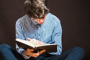 portrait of teenage student sit on f