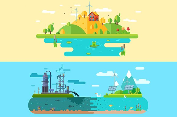 Ecology design concept. Vector - Illustrations