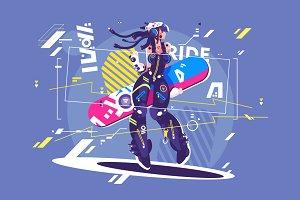 Girl in sportswear with snowboard