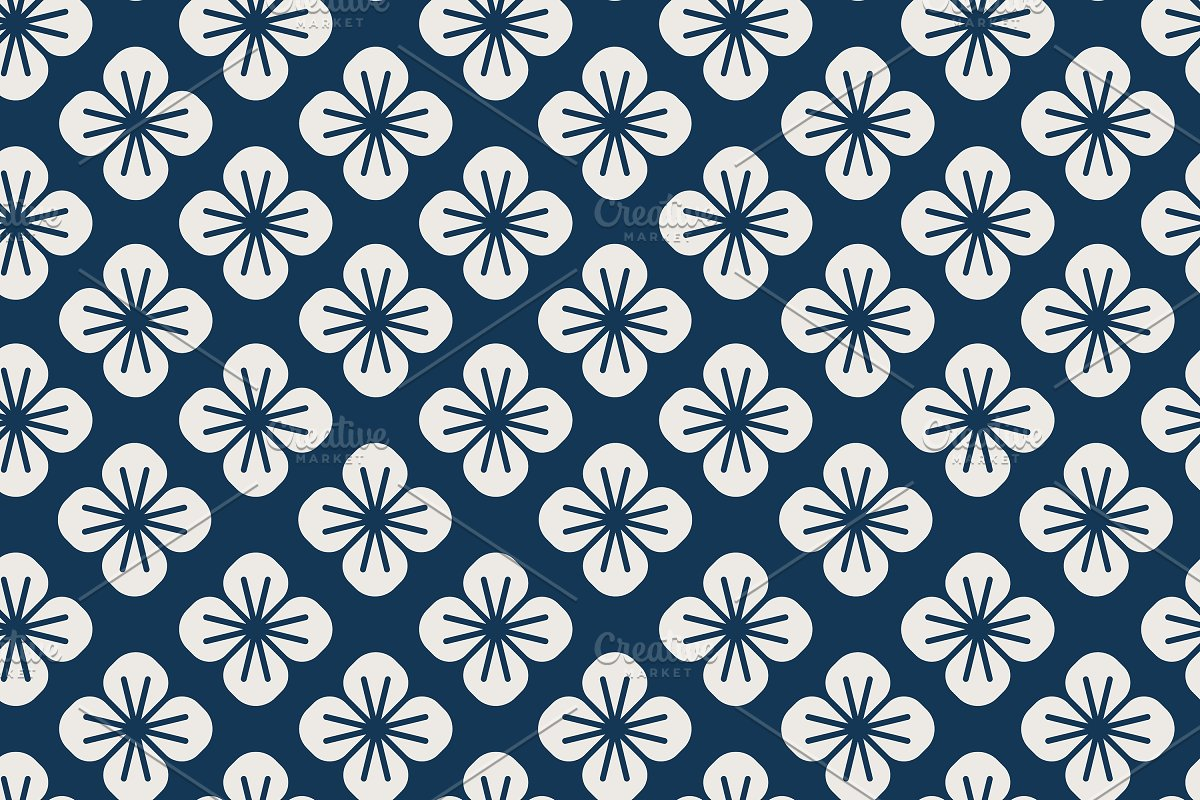 Japanese Pattern With Floral Vector Custom Designed Graphics