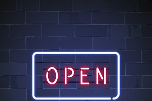 Open shop neon sign vector