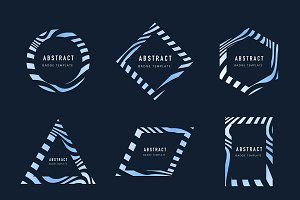 Set of blue abstract badge vectors