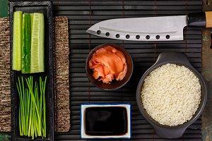 Traditional sushi ingredients. Asian