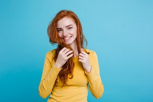 Portrait of happy ginger red hair