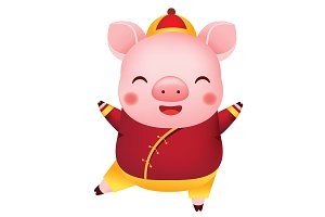 Cartoon Chinese new year pig dance