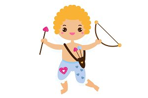 Cute Cupid boy with love arrow bow