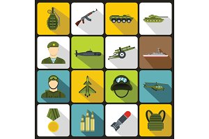 War icons set in flat style