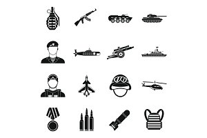 War icons set, simple style