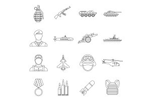 War icons set, outline style