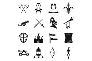 Knight medieval icons set, simple