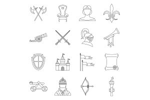 Knight medieval icons set, outline