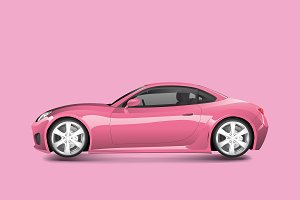 Pink sports car in a pink background
