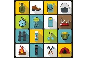 Recreation tourism icons set, flat